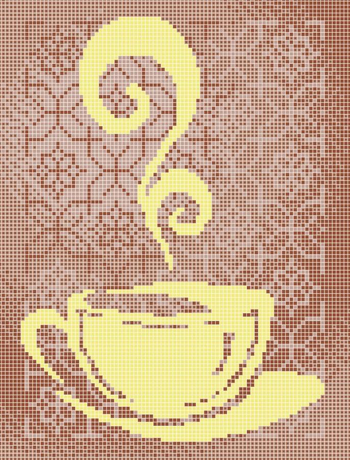Схема для вишивки та вишивання бісером Бисерок «Чашка чаю орнамент» (A4) 20x25 (ЧВ-3099(10))