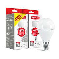 Светодиодная LED лампа MAXUS, 6W, 3000K, 220V, G45 F, E14 (по 2 шт.)