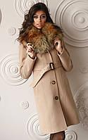 Женское зимнее кашемировое пальто с мехом Z-10, енот искусственный, фото 1