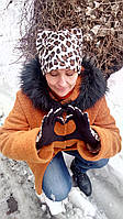 """Шапка и перчатки  """"Рысь"""" тёплая с ушками из меха"""