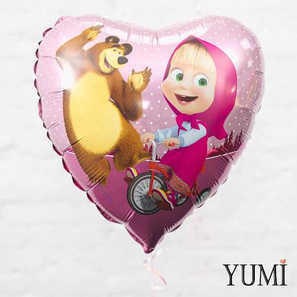 Фольгированный гелиевый шарик Сердце Маша и медведь, фото 2