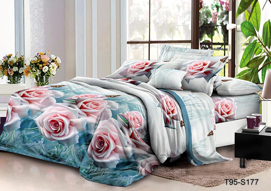 Полуторный комплект постельного 150х220 из полиэстера Зимняя Роза (100)