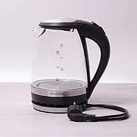 Чайник электрический Kamille 1.5л с синей LED подсветкой и стальными декоративными вставками