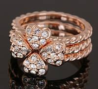 Необыкновенное тройное кольцо - трансформер с кристаллами Swarovski, покрытое слоями золота (102510) 16.5