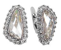 """Серьги """"Морена"""" с кристаллами Swarovski, покрытые серебром (r4403166) (Потемнели темнее чем на фото)"""