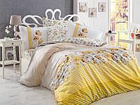 Комплект постельного белья Евро размера HOBBY Poplin Fiesta желтый HB01