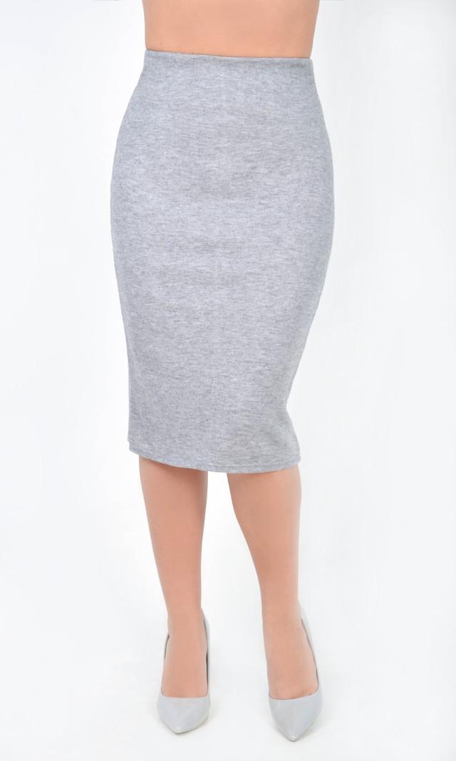 Женская серая юбка на сезон весна-осень из итальянского трикотажа