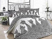 Комплект постельного белья Евро размера HOBBY Poplin Jazz серый HB01