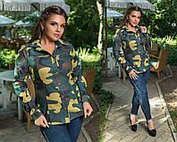 Женская стильная рубашка Камуфляж Батал