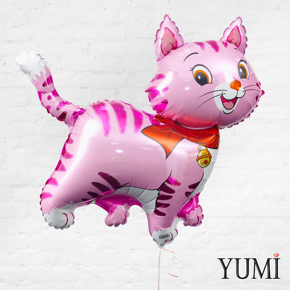 Фольгированный гелиевый шарик Кошка розовая
