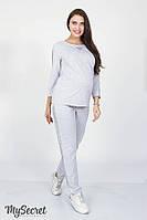 Модные спортивные брюки с паетками для беременных RIHANNA, серый меланж