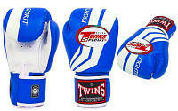 Twins Перчатки боксерские кожа FBGV-43W-BU |син