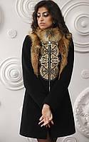 Женское зимнее кашемировое пальто Z-16 c натуральным мехом лисы, вышивкой и камнями Сваровски