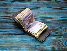 Кожаный кошелек с зажимом для денег (281025) - шоколадный, фото 3
