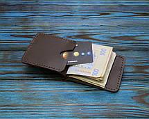 Кожаный кошелек с зажимом для денег (281025) - шоколадный, фото 2