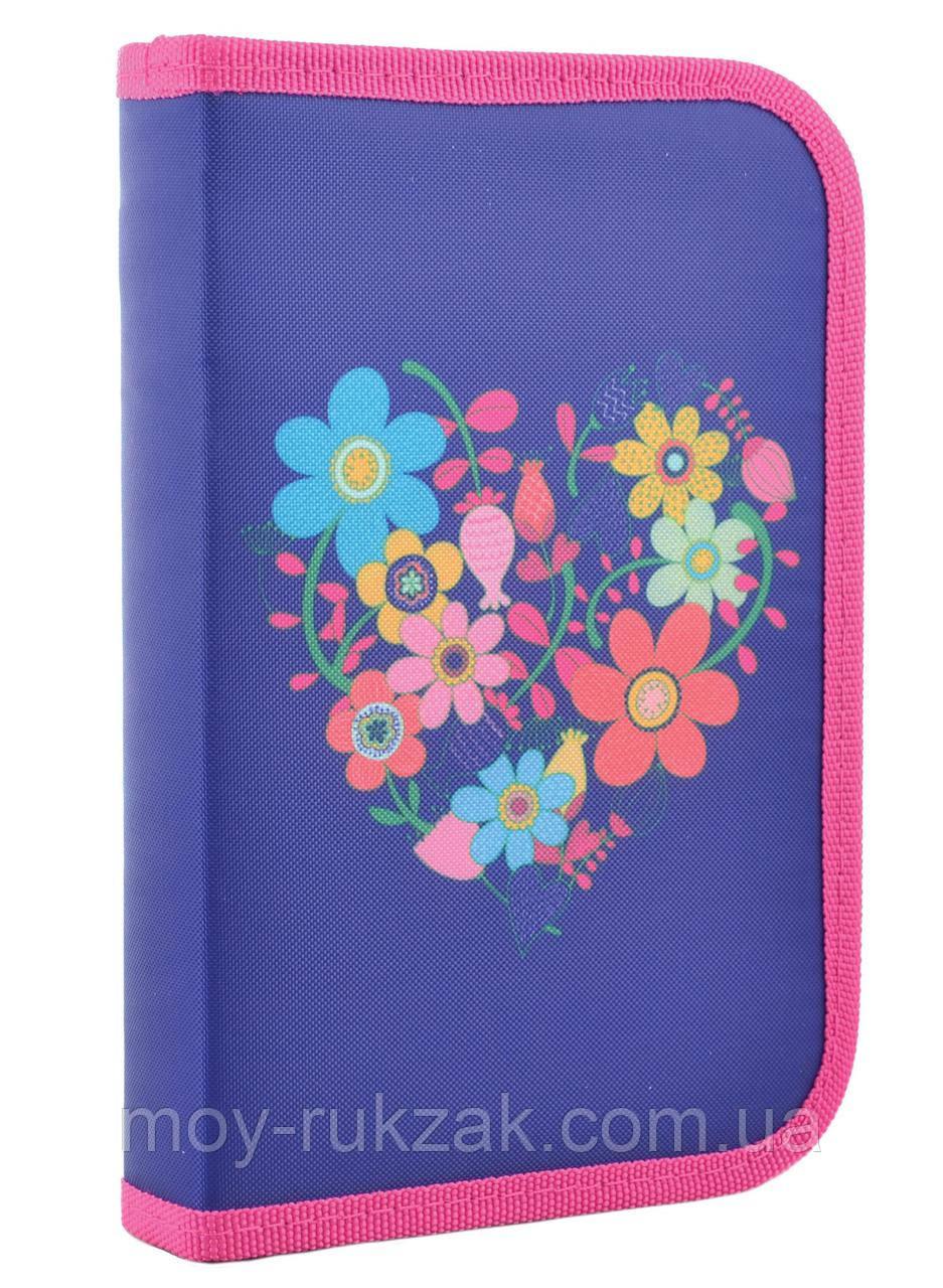"""Пенал твёрдый одинарный """"Flowers blue"""" 1 Вересня Smart 531656"""
