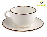 Кофейная пара Чашка Сappuccino Fortuna - 300 мл и Блюдце Сappuccino Fortuna - 164 мм, Бежевая (Xantia)
