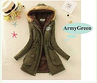 """Молодежная куртка парка """"ARMY"""" с мехом и капюшоном Army Green  Замеры в описании!"""