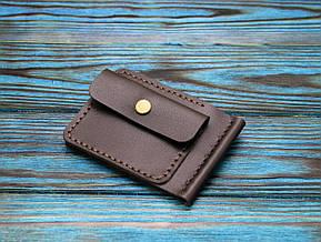 Кожаный кошелек с зажимом для денег и отделением для мелочи (281023) - шоколадный, фото 3