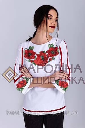 Заготовка на жіночу блузку бохо під вишиття бісером або нитками. Маки 325a609f517b0