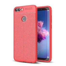 Чехол накладка для Huawei P Smart | Enjoy 7S силиконовый, Фактура кожи, красный