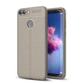 Чехол накладка для Huawei P Smart | Enjoy 7S силиконовый, Фактура кожи, серый