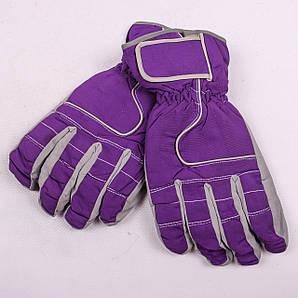 Женские перчатки лыжные на флисе фиолетового цвета PZ-03-17-3