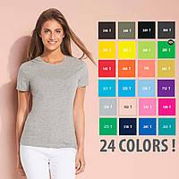 Футболки женские SOL'S MISS Франция 24 цвета 100% полугребной Ringspun хлопок легкие 150 г/м2