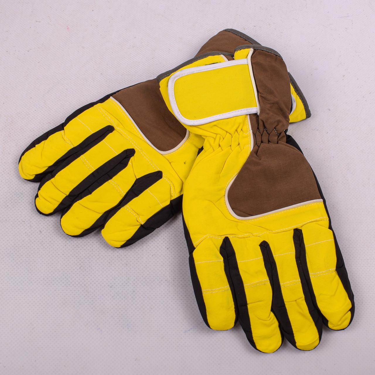 Женские перчатки лыжные на флисе желтого цвета PZ-03-17-6