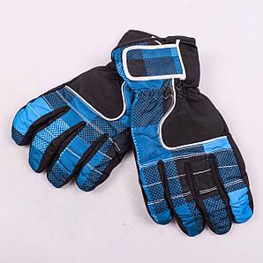Женские перчатки лыжные на флисе синего цвета PZ-03-17-2