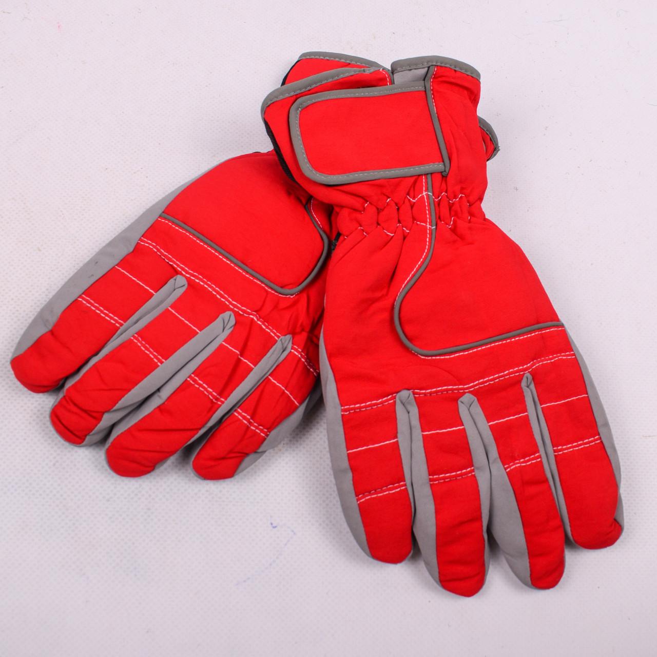 Женские перчатки лыжные на флисе красного цвета PZ-03-17-5
