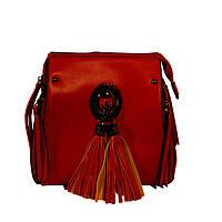 Красная  сумка - рюкзак  кросс-боди, крос боди с бахромой