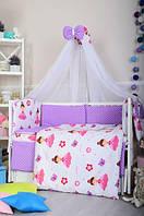 Комплект детского постельного белья Bepino Балерина+сиреневых горошек