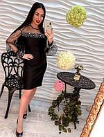 Женское эфектное платье из полиэстра с бусинами/жемчугом (3 цвета) белый