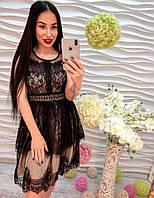 Женское красивое платье из кружева и шифона бежево-черное