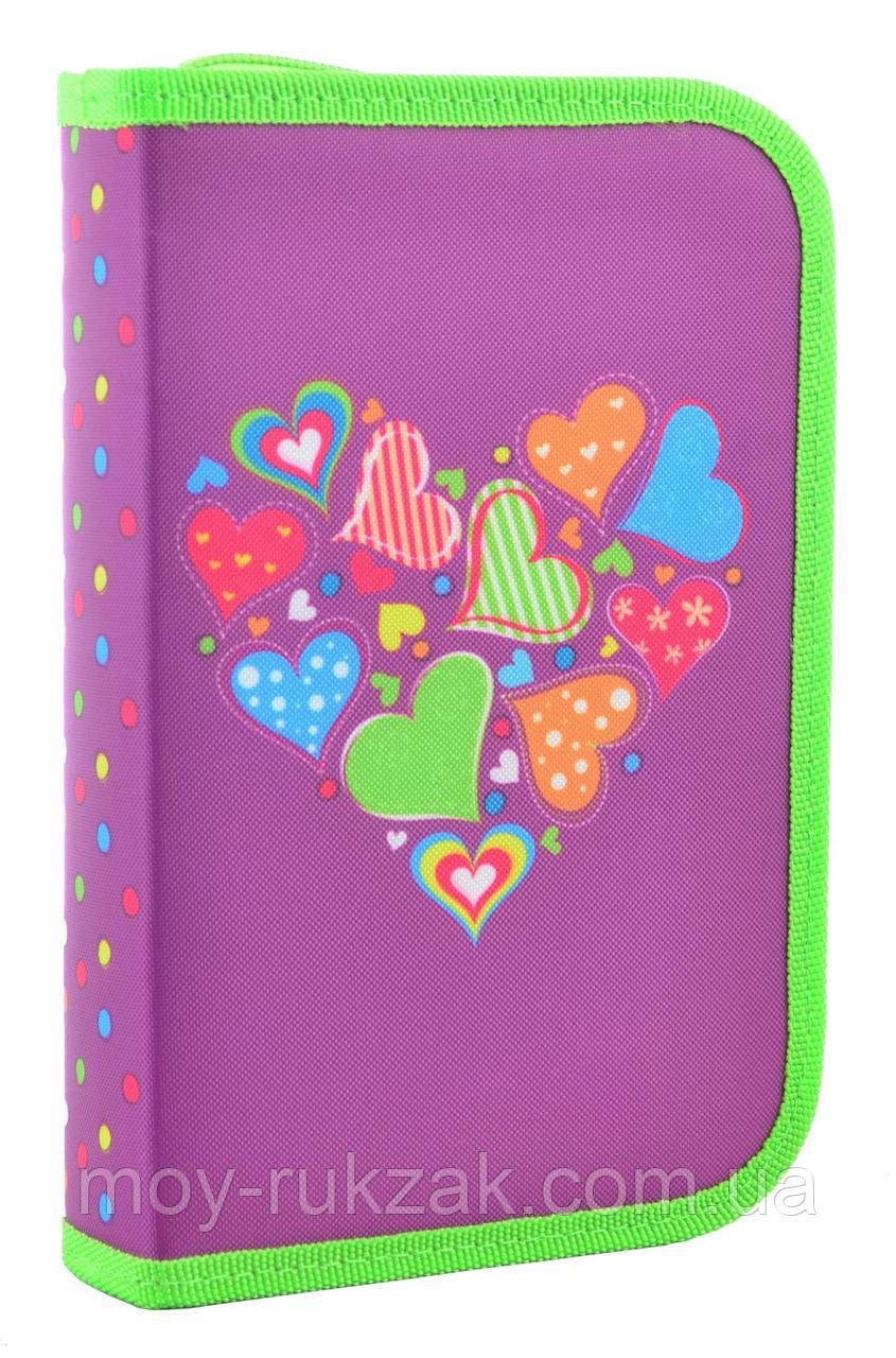 """Пенал твёрдый одинарный с двумя клапанами """"Hearts purple"""" 1 Вересня Smart 531683"""