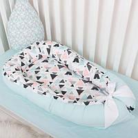"""Гнёздышко для малышей, кокон для новорожденных, бампер - защита в кроватку за со съёмным чехлом """"Геометрия"""""""