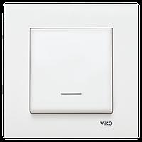 VIKO KARRE Выключатель одно клавишный белый с подсветкой