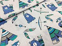 """Польская хлопковая ткань """"мишки с вигвамами голубые на белом"""""""