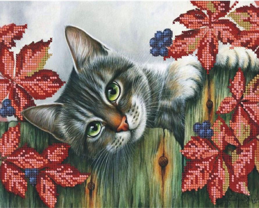 Схема для вишивки та вишивання бісером Бисерок «Кіт на паркані» (A4) 20x25 (ЧВ-3151(10))