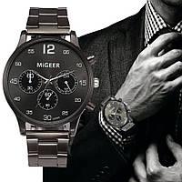 """Мужские кварцевые наручные часы """"Migeer"""" черные классические на браслете"""