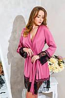 Женский домашний халат трикотажный с кружевом Фрез , фото 1