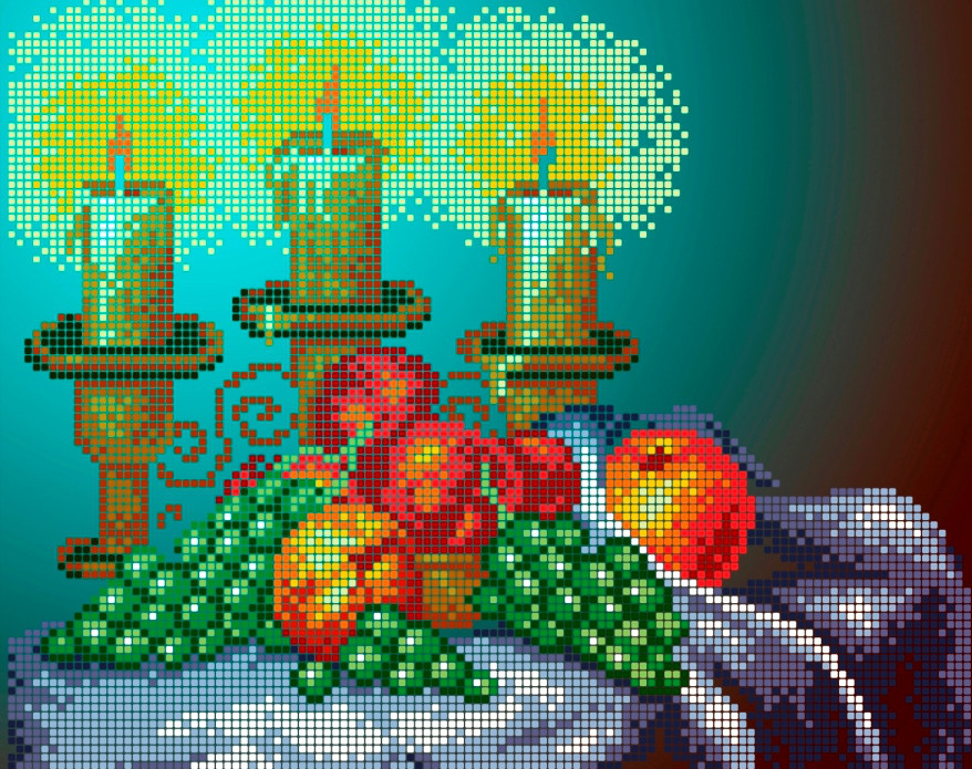 Схема для вишивки та вишивання бісером Бисерок «Вечеря при свічках» (A4) 20x25 (ЧВ-3171(10))