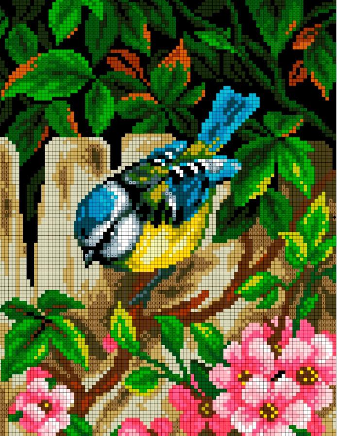 Схема для вишивки та вишивання бісером Бисерок «Весняний сад» (A4) 20x25 (ЧВ-3170(10))