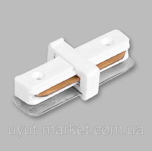 Коннектор прямой для шинопровода однофазного белый LD1000 Feron, фото 1