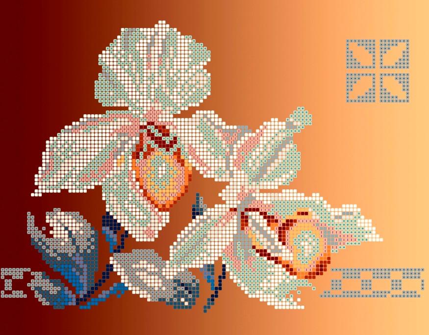 Схема для вишивки та вишивання бісером Бисерок «Дві орхідеї» (A4) 20x25 (ЧВ-3164(10))