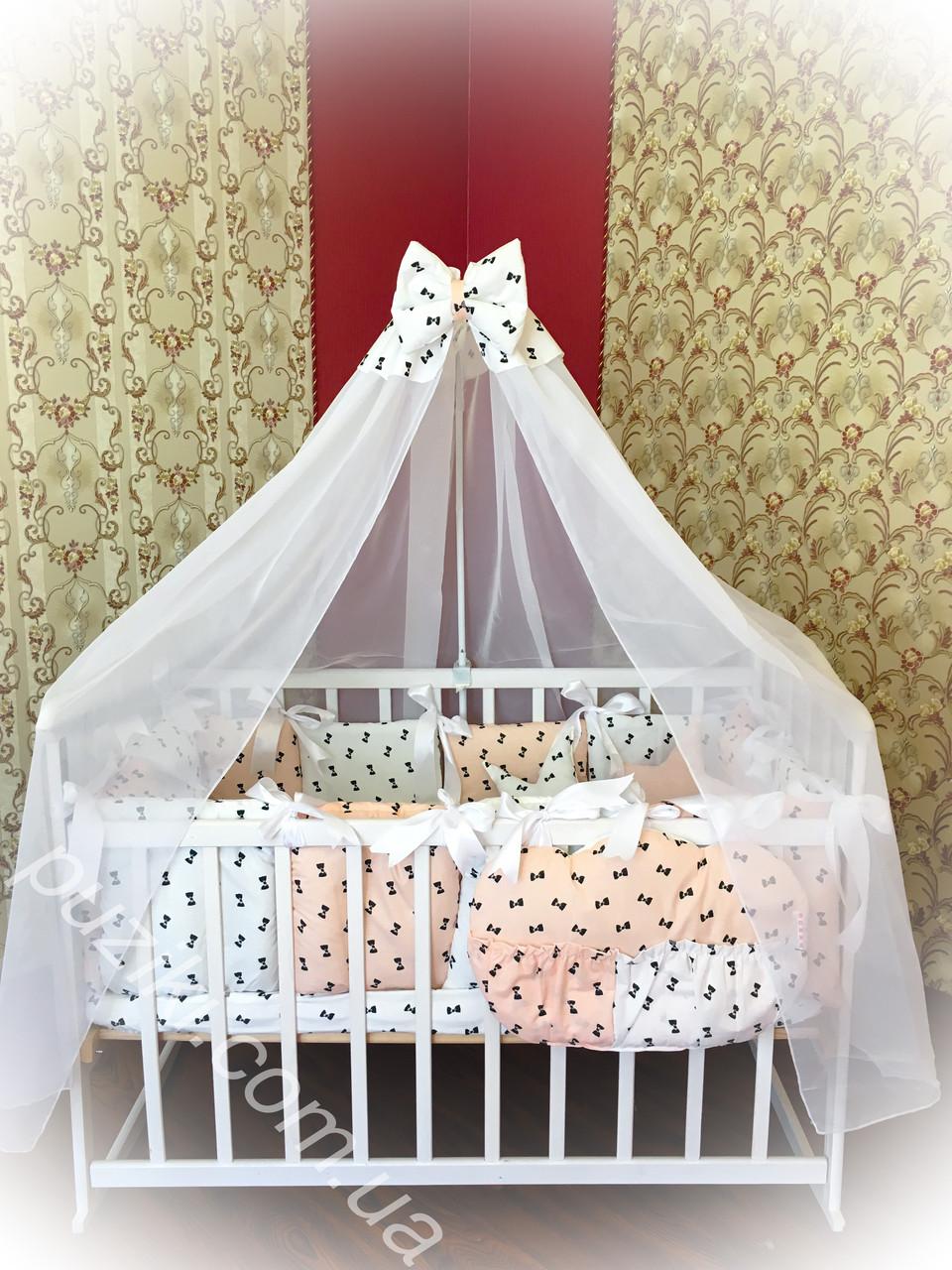 Комплект детского постельного белья 6 в 1 с принтом бантики персиковый