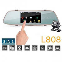"Регистратор-зеркало DVR L808 Full HD 5""+ камера заднего вида+сенсор"