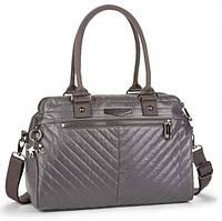 Практичная двуручная женская сумка на молнии Kipling Shiny Grey, материал - текстиль, цвет - серый, K12010_V66