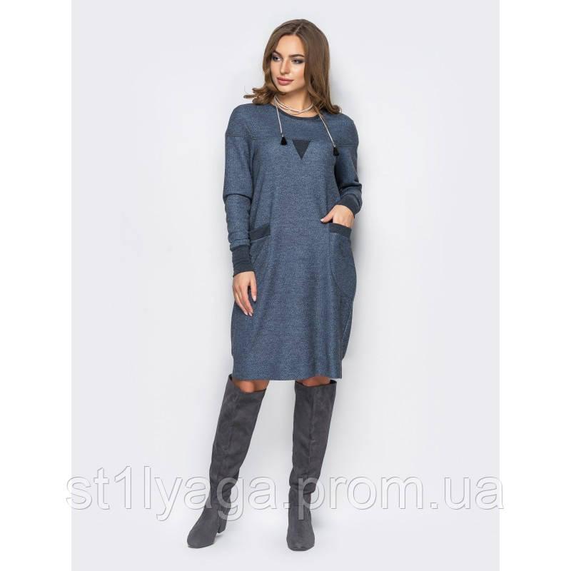 Комфортное платье в стиле casual с накладными карманами синий джинс